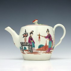 RESERVED D.O. - Worcester Long Eliza Pattern Barrel Shape Teapot and Cover c1770