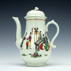 First Period Worcester Mandarin Tall Table Pattern Coffee Pot c1770