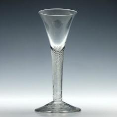 Georgian Multi Spiral Air Twist Wine Glass c1750