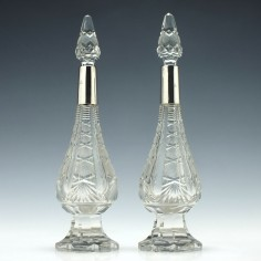 Pair of Silver Topped Perfume Bottles 1915