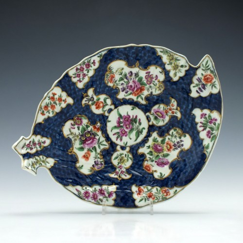 First Period Worcester Porcelain Blue Scale Leaf Dish c1775