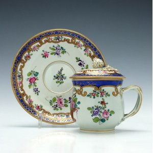 French Porcelain Custard Cup & Saucer c1840