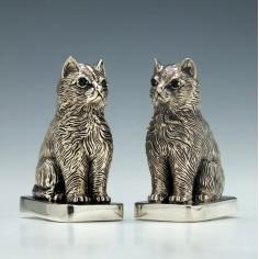 American Sterling Silver Cat Salt and Pepper Cruets