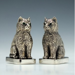 American Silver Cat Salt and Pepper Cruets