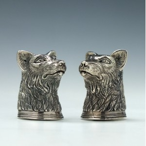 American Silver Wolf's Head Salt and Pepper Cruets