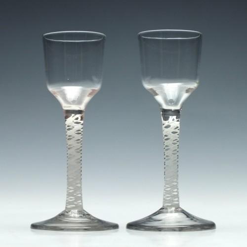 Pair of 18th Century Opaque Twist Glasses c1760