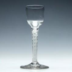 Rare 18th Century Single Series Opaque Twist Wine Glass