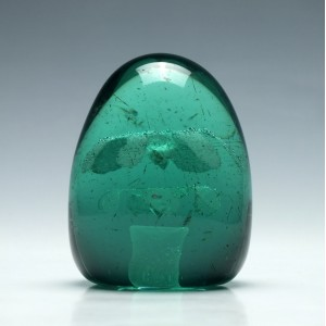 Victorian Green Glass Paperweight c1880