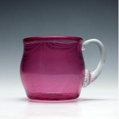 Victorian Cranberry & White Nailsea Glass Mug
