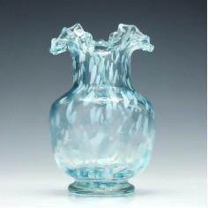 Alloa Style Blue Art Glass Vase c1900