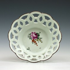 Rare Small Size First Period Worcester Porcelain Basket c1760