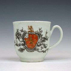 Worcester Porcelain Marke Family Armorial Coffee Cup c1758