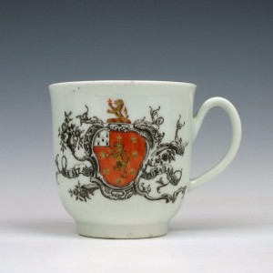 RESERVED- Worcester Porcelain Marke Family Armorial Coffee Cup c1758