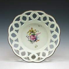 First Period Worcester Porcelain Basket c1760