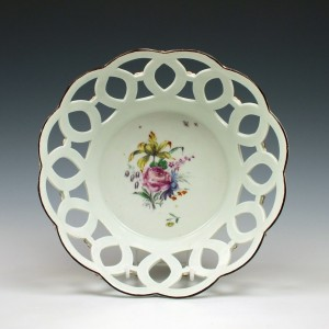 First Period Worcester Porcelain Basket c1760