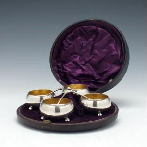 Four Silver Salts In Case Sheffield 1856