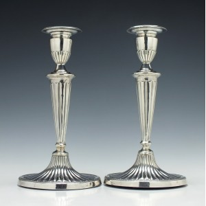 Pair Silver George III Style Candle Sticks Birmingham 1909