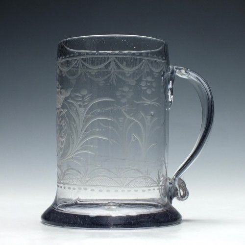 Engraved 18th Century Quart Glass Tankard c1790