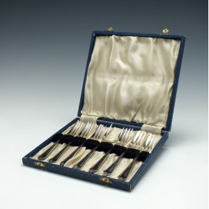 Cased Set of Seven Silver Plate Canape Forks c1900