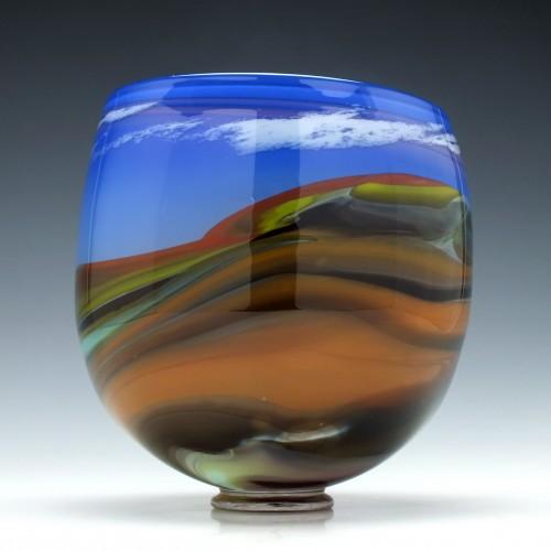 Large William Walker Landscape Studio Glass Vase c1985