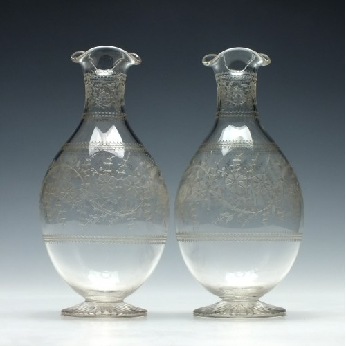 Pair of Etched Glass Carafes