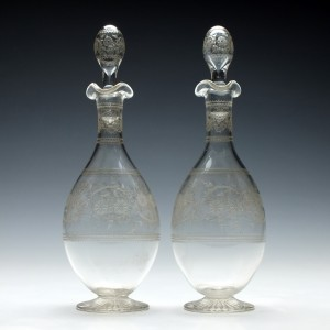 Pair of Etched Glass Spirit Decanters