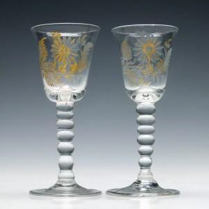 Pair of 18th Century Gilded Wine Glasses