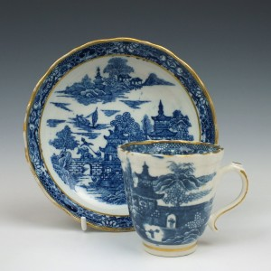 Caughley Pagoda Pattern Coffee Cup and Saucer c1782-92