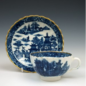Caughley Pagoda Pattern Tea Cup and Saucer c1782-92