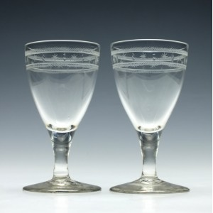 Pair of Engraved Georgian Port Wine Glasses c1790