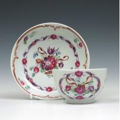 Baddeley Littler Floral Pattern Teabowl and Saucer c1780