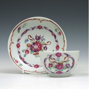 Baddeley Littler Floral Pattern Teabowl and Saucer c1780
