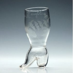 Engraved Georgian Boot Glass c1770