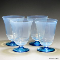 Set of Four Opalescent Glass Beakers c1900
