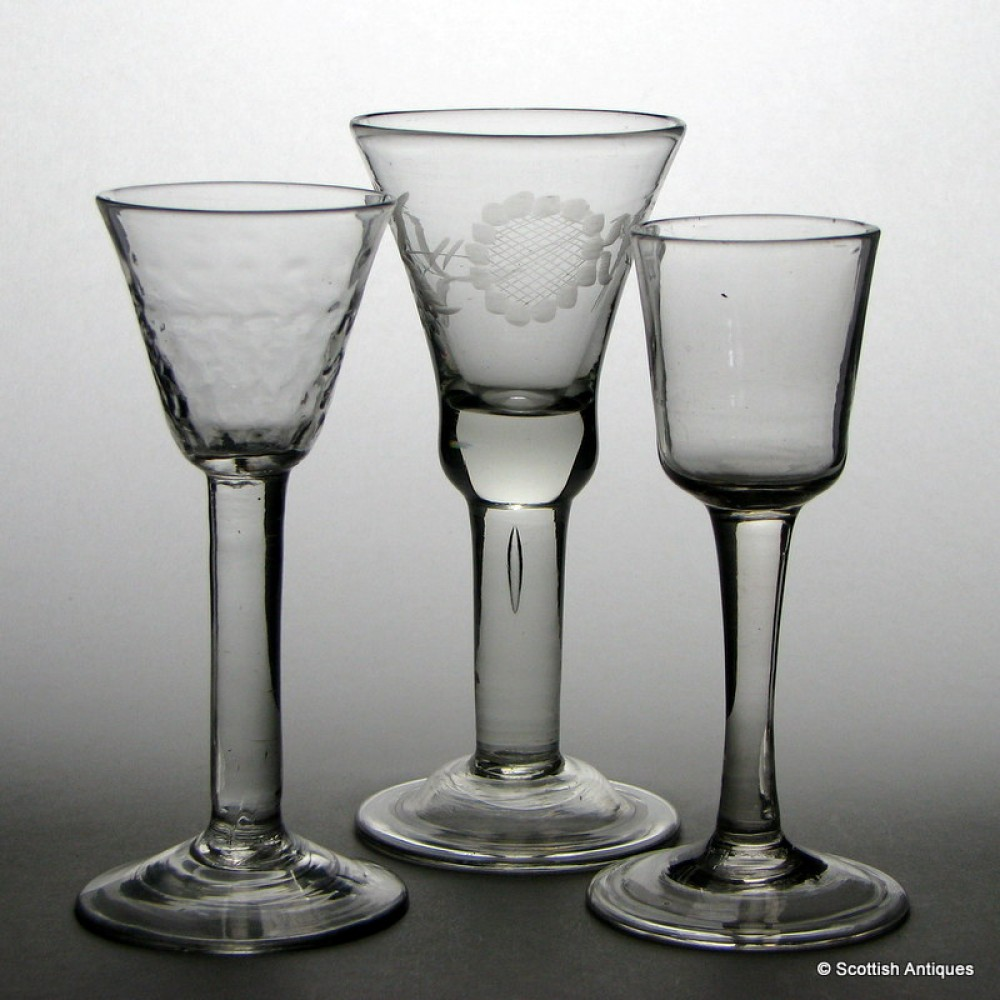 Engraved georgian plain stem wine glass - Wine glasses with thick stems ...