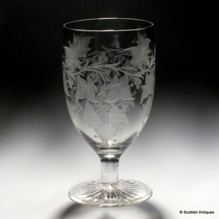 An Engraved Victorian Wine Glass C1890 Ebay