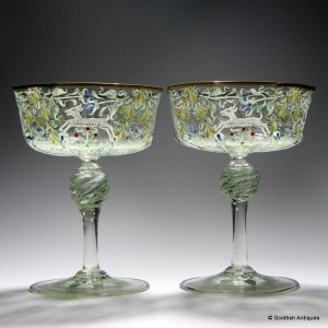 Pair of Salviati Champagne Glasses Enamelled by Moser c1900