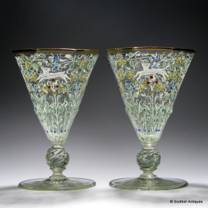 Pair Salviati Water Goblets Enamelled by Moser c1900