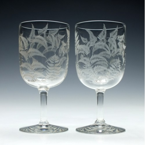 Pair of Engraved Victorian Wine Goblets c1890