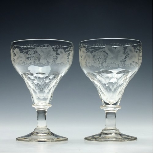 Pair of Engraved John Walsh Water Goblets 1930-1951