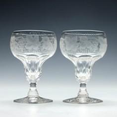 Pair of Engraved John Walsh Wine Glasses 1930-1951