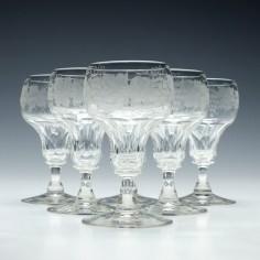Set of Six Engraved John Walsh White Wine Glasses 1930-1951