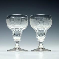 Pair of Engraved John Walsh White Wine Glasses 1930-1951