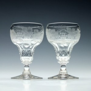 Pair of Engraved John Walsh White Wine Glasses 1930-1951