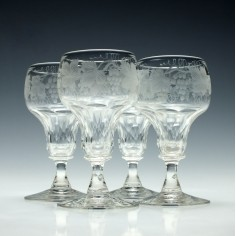 Set of Four Engraved John Walsh Port Wine Glasses 1930-1951
