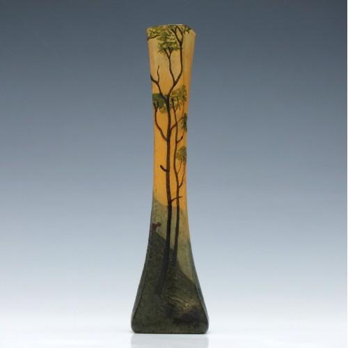 Legras Enamelled Cameo Landscape Stem Vase c1905