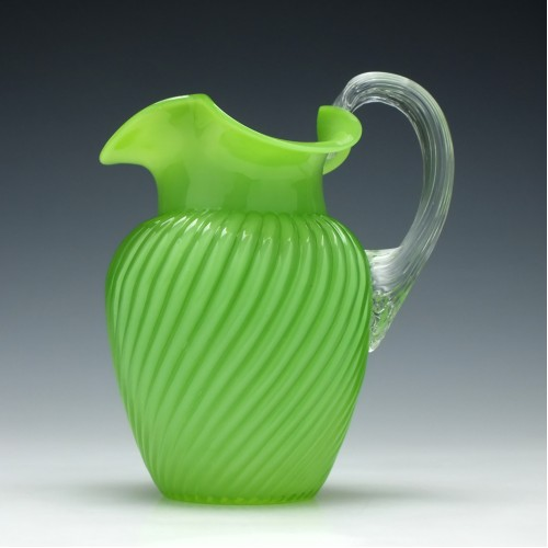 Victorian Green Glass Water Jug c1880