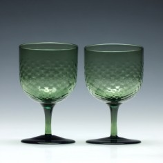 Pair of Green Victorian Wine Glasses c1880