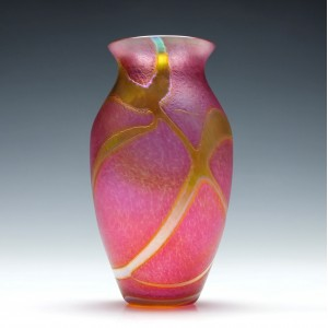 Okra Iridescent Pink Glass Vase c1985