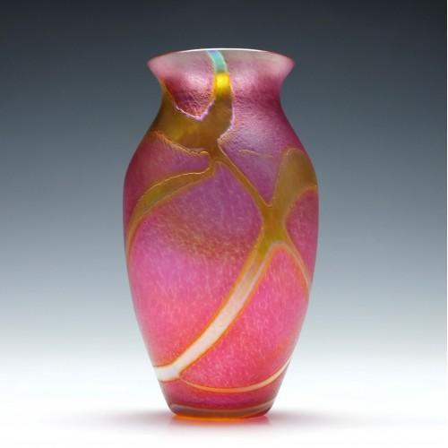 Okra Iridescent Pink Glass Vase c1985